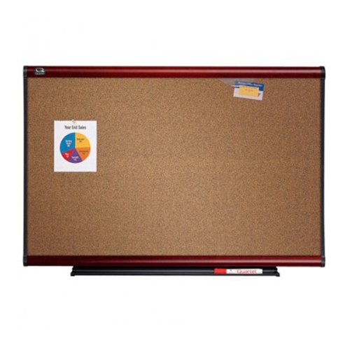 Quartet 6' x 4' Connectable Modular Colored Cork Board with Mahogany Frame (QRT-MB06C2) Image 1