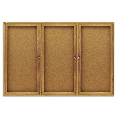 Quartet 6' x 4' Oak Frame 3 Door Enclosed Bulletin Board (QRT-367) Image 1