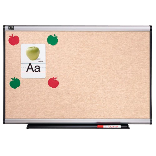 Quartet 6' x 4' Connectable Modular Sand Vinyl Tack Board with Aluminum Frame (QRT-MB06N6) Image 1