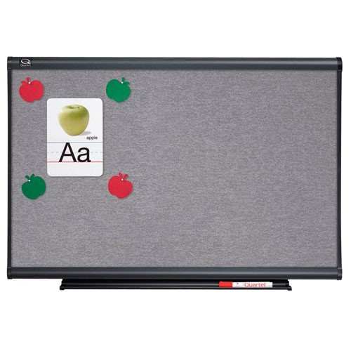 Quartet 6' x 4' Connectable Modular Sand Vinyl Tack Board with Graphite Frame (QRT-MB06T5) Image 1