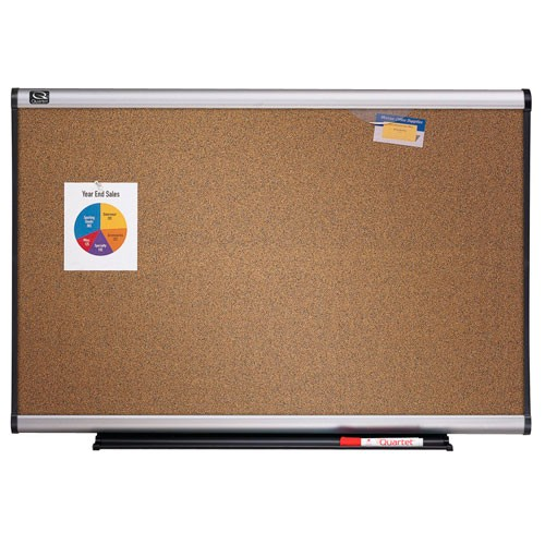 Quartet 8' x 4' Connectable Modular Colored Cork Board with Aluminum Frame (QRT-MB08C6) Image 1