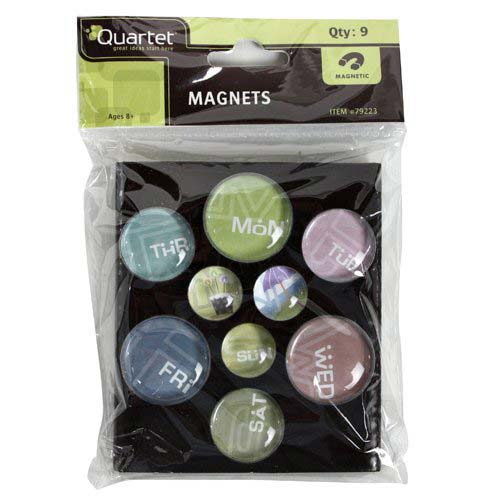 Quartet Bubble Magnets with Printed Days Of The Week Text 9pk (QRT-79223), Quartet brand Image 1