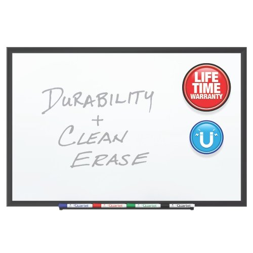 Quartet 5' x 3' Premium DuraMax Porcelain Magnetic Whiteboard with Black Aluminum Frame (QRT-2545B)