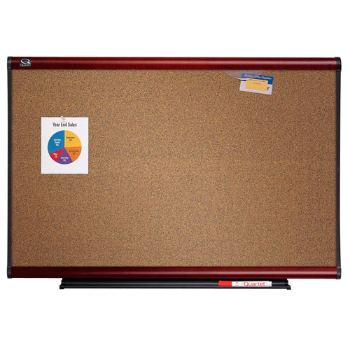 Quartet Connectable Modular Colored Cork Board with Mahogany Frame (QRT-MBC2) Image 1