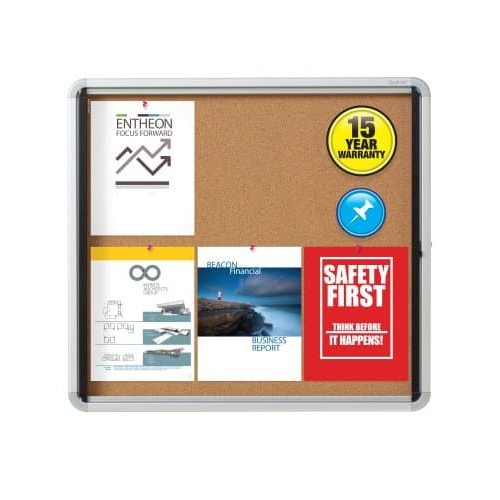 "Quartet Contemporary 30"" x 27"" Indoor Enclosed Cork Bulletin Board with Swing Door (QRT-EIHC2730) Image 1"