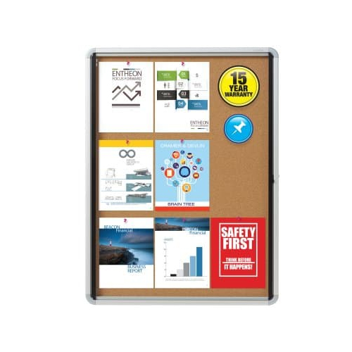 "Quartet Contemporary 30"" x 39"" Indoor Enclosed Cork Bulletin Board with Swing Door (QRT-EIHC3930) Image 1"