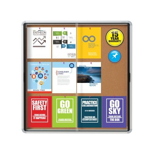 "Quartet Contemporary 38"" x 39"" Indoor Enclosed Cork Bulletin Board with 2 Sliding Doors (QRT-EISC3938) - $352.42 Image 1"