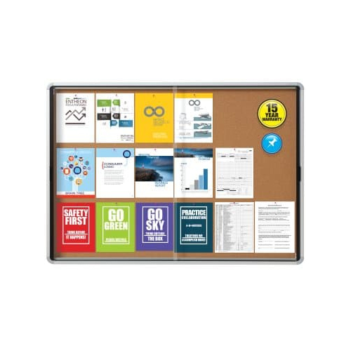 Quartet Contemporary Indoor Enclosed Cork Bulletin Board with 2 Sliding Door (QRT-CIECBB2SD) Image 1