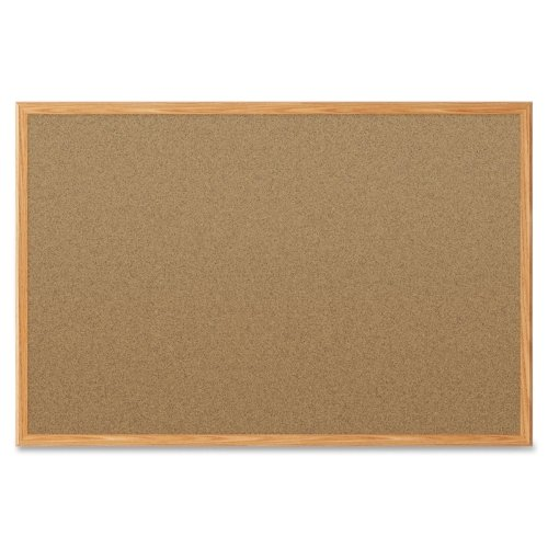 Quartet Economy 2' x 1.5' Cork Bulletin Board with Oak Finish Frame (QRT-85365) Image 1