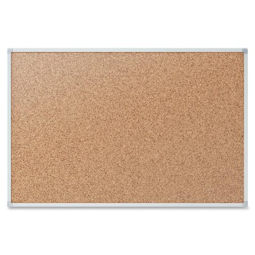 Quartet Economy 4' x 3' Cork Bulletin Board with Silver Frame (QRT-85362) Image 1