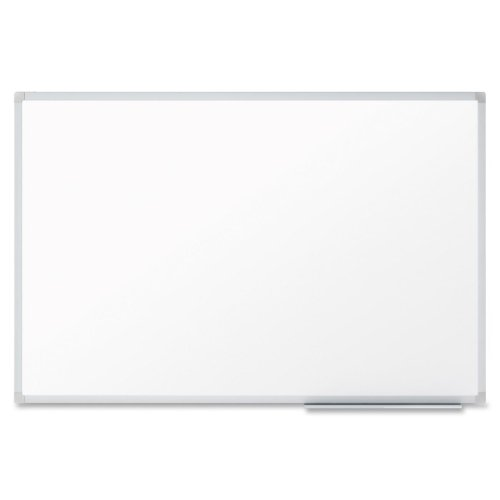 Mead Economy 4' x 3' Melamine White Board with Silver Frame (QRT-85357) Image 1