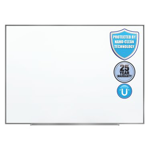 Quartet Fusion Nano-Clean 4' x 3' Magnetic Whiteboard with Silver Aluminum Frame (QRT-NA4836F) Image 1