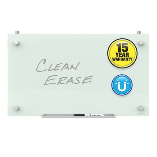 "Quartet Infinity 24"" x 14"" Magnetic White Glass Dry-Erase Cubicle Board (QRT-PDEC2414) Image 1"