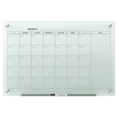 Quartet Infinity Glass 3' x 2' White Magnetic Calendar White Board (QRT-GC3624F) Image 1