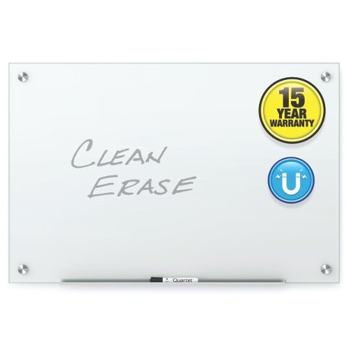 Quartet Infinity Glass 3' x 2' White Magnetic Frameless Dry-Erase Board (QRT-G3624W) Image 1