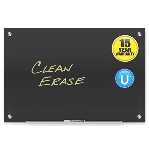 Quartet Infinity Glass Black Magnetic Frameless White Board (QRT-GB) Image 1
