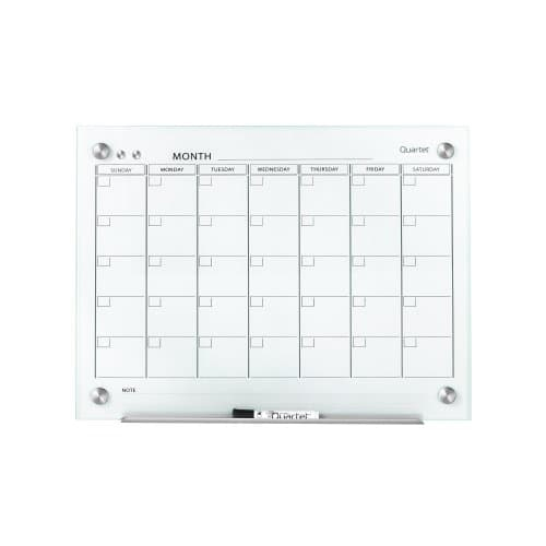 Quartet Infinity Glass White Magnetic Calendar White Board (QRT-GCF) Image 1