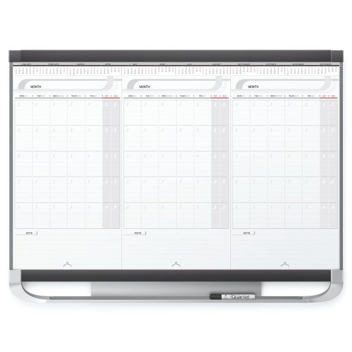 Quartet Prestige 2 3' x 2' 3 Month White Board Calendar with Black Frame (QRT-CMP32P2)