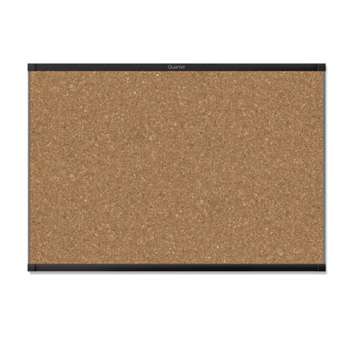 Quartet Prestige 2 4' x 3' Magnetic Cork Bulletin Board with Black Frame (QRT-MC244BP2) Image 1