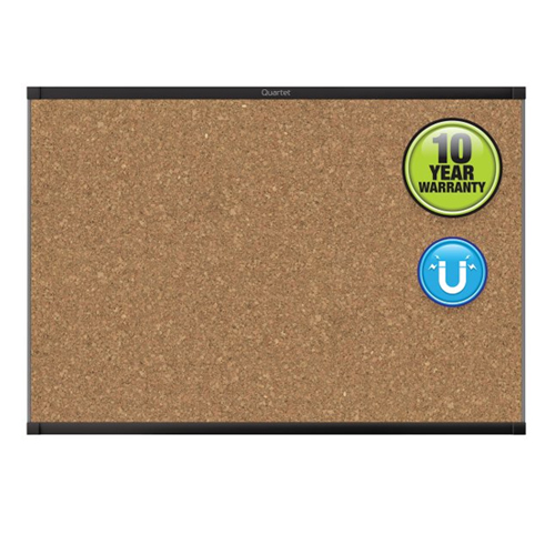 Quartet Prestige 2 3' x 2' Magnetic Cork Bulletin Board with Black Frame (QRT-MC243BP2) Image 1