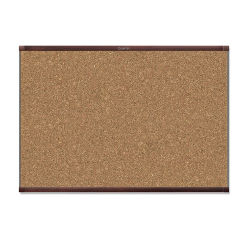 Quartet Prestige 2 4' x 3' Magnetic Cork Bulletin Board with Mahogany Frame (QRT-MC244MP2) Image 1