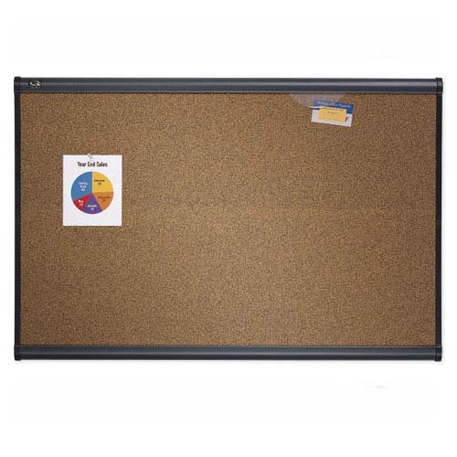 "Quartet Prestige 36"" x 24"" Colored Cork Bulletin Board with Graphite Frame (QRT-B243G) Image 1"