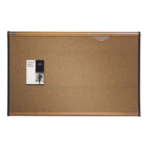 "Quartet Prestige 48"" x 36"" Colored Cork Bulletin Board with Maple Frame (QRT-B244MA) Image 1"