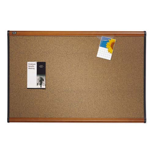 "Quartet Prestige 72"" x 48"" Colored Cork Bulletin Board with Light Cherry Frame (QRT-B247LC) Image 1"