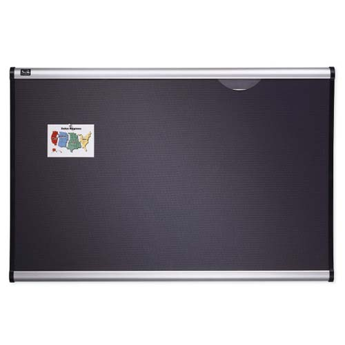 "Quartet Prestige 48"" x 36"" Diamond Mesh Fabric Bulletin Board with Aluminum Frame (QRT-B444A) Image 1"