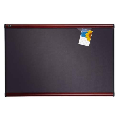 "Quartet Prestige 72"" x 48"" Diamond Mesh Fabric Bulletin Board with Mahogany Frame (QRT-B447M) Image 1"