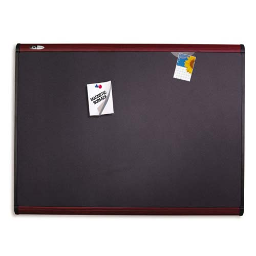 "Quartet Prestige Plus 48"" x 36"" Magnetic Fabric Bulletin Board with Mahogany Frame (QRT-MB544M) Image 1"
