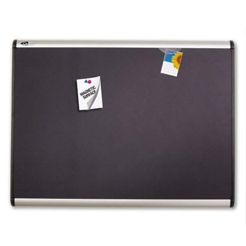 "Quartet Prestige Plus 72"" x 48"" Magnetic Fabric Bulletin Board with Aluminum Frame (QRT-MB547A) - $355.68 Image 1"