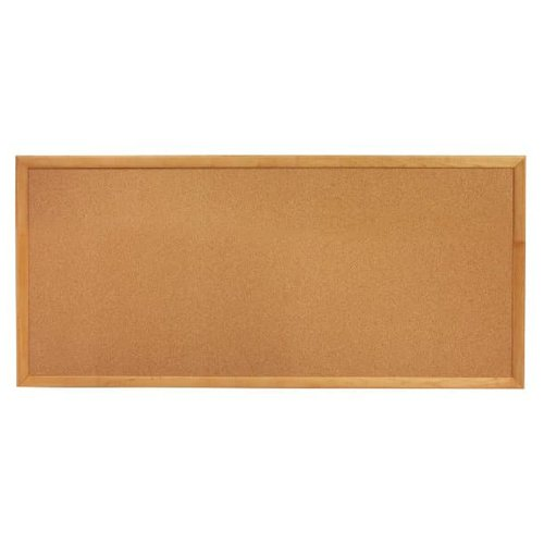 "Quartet 12"" x 36"" Standard Cork Bulletin Board with Oak Frame (QRT-300) Image 1"