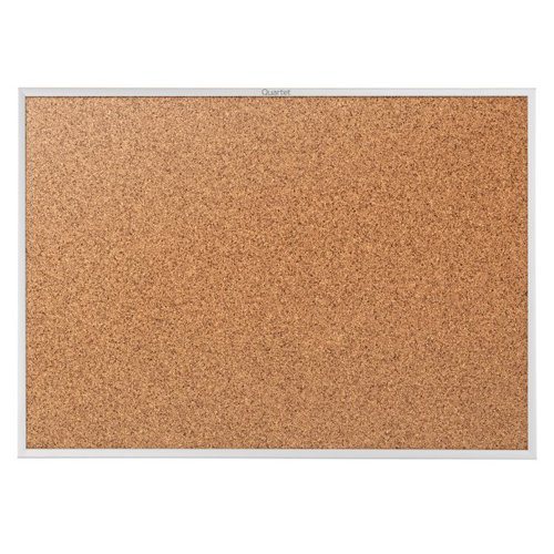 "Quartet Standard 48"" x 34"" Natural Cork Bulletin Board with Silver Frame (QRT-2304) Image 1"