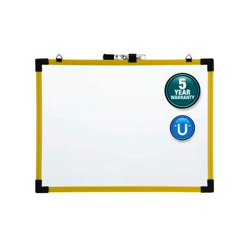 "Quartet 72"" x 48"" Industrial Magnetic Whiteboard with Yellow Aluminum Frame- 724127 (QRT-724127) Image 1"