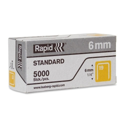 "Rapid R23 No.19 Fine Wire 1/4"" Staples - 5000/Box (RPD23391100) Image 1"