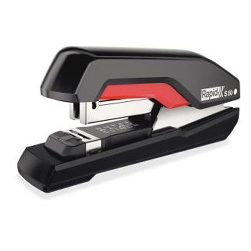 Rapid S50 Black/Red Supreme SuperFlatClinch Halfstrip Stapler (RPD5000599) - $32.29 Image 1