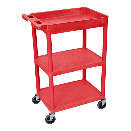 Luxor STC122-B Red Top Tub and Middle/Bottom Flat Shelf Utility Cart (RDSTC122RD) Image 1