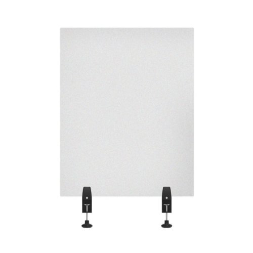 "Luxor RECLAIM Frosted Acrylic 24"" x 30"" Clamp-On Sneeze Guard Desk Divider (DIVCL-2430F) Image 1"