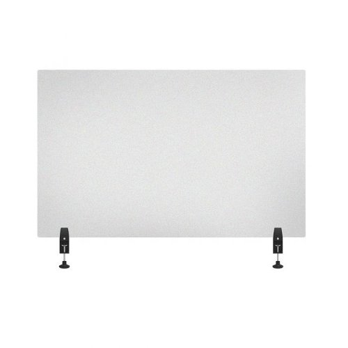 "Luxor RECLAIM Frosted Acrylic 48"" x 30"" Clamp-On Sneeze Guard Desk Divider (DIVCL-4830F) Image 1"