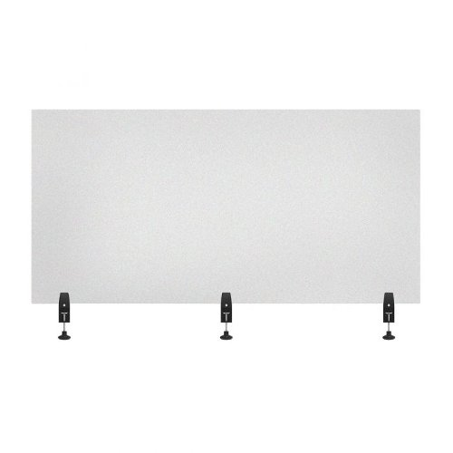 "Luxor RECLAIM Frosted Acrylic 60"" x 30"" Clamp-On Sneeze Guard Desk Divider (DIVCL-6030F) Image 1"