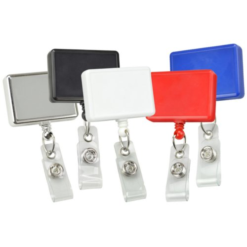Rectangle Badge Reel With Swivel Clip and Clear Vinyl Strap - 25pk (MYRBRSCCVS) Image 1