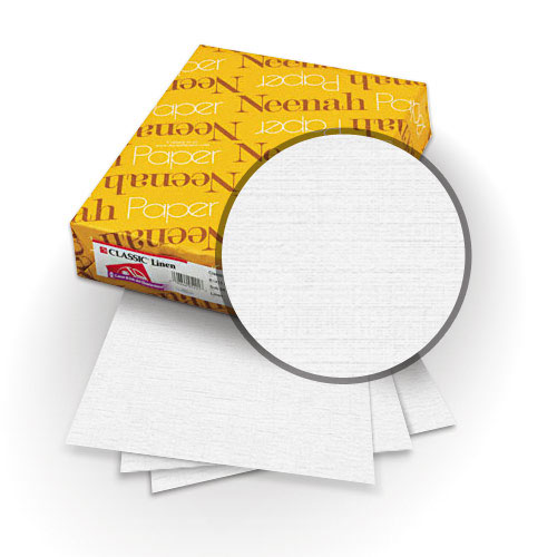 "Neenah Paper Classic Linen Recycled Natural White 9"" x 11"" 80lb Covers with Windows - 25 Sets (MYCLINR1NWW9X11) Image 1"