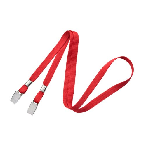 "Red 3/8"" Flat Open Ended Lanyard with Two Bulldog Clips - 100pk (2140-5306)"