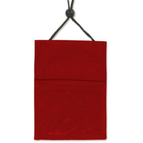 Red 3-Pocket Credential Holder with Pen Pocket and Cord - 25pk (1860-2506) Image 1