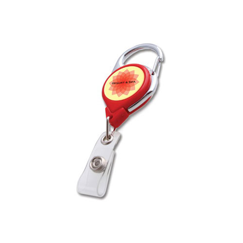 Red Carabiner Badge Reel