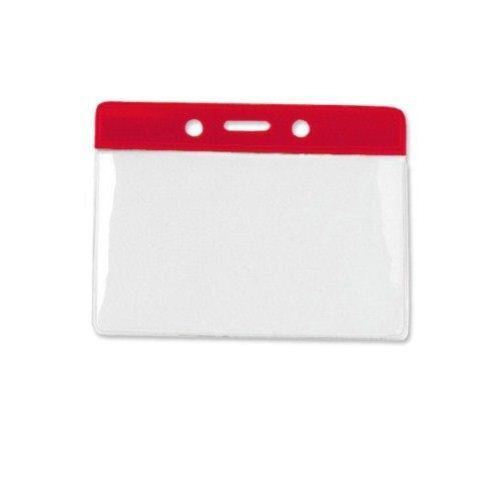 Red Credit Card Size Horizontal Color-Bar Badge Holders - 100pk (1820-1006) Image 1