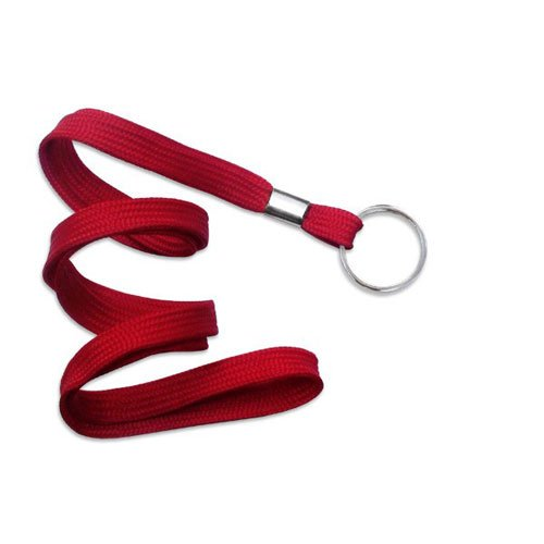 "Red Flat Lanyard with Ring - 3/8"" - 100pk (MYIDNF9RRED) Image 1"
