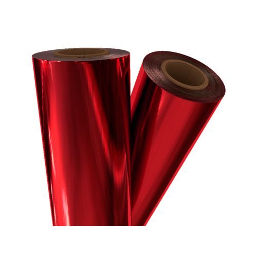 "Red Metallic 12"" x 500' Toner Fusing/Sleeking Foil - 3"" Core (RED-45-3-12) Image 1"