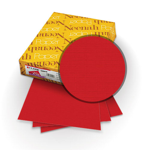 "Neenah Paper Classic Linen Red Pepper 8.5"" x 11"" 80lb Covers with Windows - 25 Sets (MYCLINRPW8.5X11) Image 1"